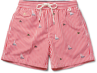 Traveler Mid-Length Embroidered Swim Shorts $90 thestylecure.com