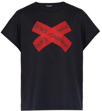 Dolce & Gabbana Logo Tape Cotton T Shirt - Mens - Navy