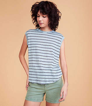 Lou & Grey Striped Softserve Linen Muscle Tee
