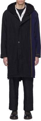 Uma Wang 'Paul' colourblock mix stripe virgin wool fishtail parka