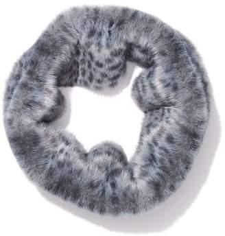 Glacier Faux Fur Infinity Scarf in Snow Leopard