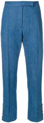 Thom Browne Slim Fit Mid-Rise Pintuck Trouser In Stone Bio Denim