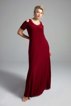 Shegul Amelia Cold Shoulder Dress in Bordeaux Size Large/20-22 Polyester