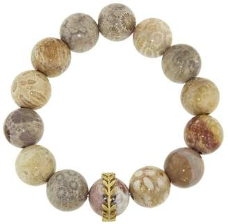 Cathy Waterman Light Fossilized Coral Wheat Overlay Bracelet