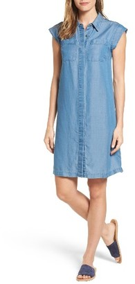 Women's Michael Michael Kors Patch Pocket Chambray Shirtdress $155 thestylecure.com