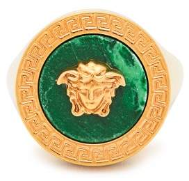 Versace Tribute Signet Ring - Womens - Green