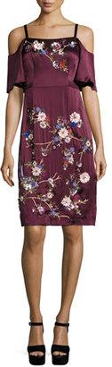 Nanette Lepore Embroidered Cold-Shoulder Silk Satin Dress, Wine/Multicolor $848 thestylecure.com