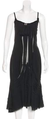 Charles Chang-Lima Velvet-Trimmed Evening Dress