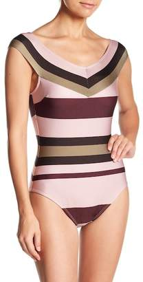 Ted Baker Imperial Stripe Bardot Cap Sleeve One-Piece