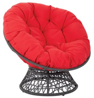Office Star OSP Designs by Products Papasan Chair with Red cushion and Black Frame