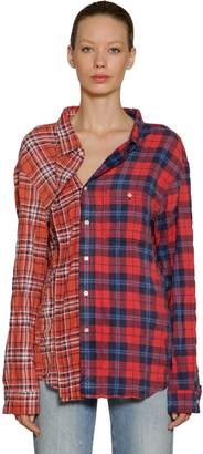 R 13 Asymmetric Cotton Plaid Shirt