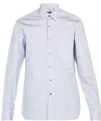 Lanvin Striped Cotton Shirt - Mens - Grey