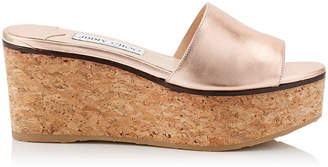 Jimmy Choo DEEDEE 80 Tea Rose Metallic Nappa Leather Sandal Wedges