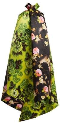 Richard Quinn - Panelled Floral Print Satin Dress - Womens - Green Multi