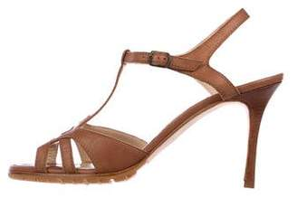 Manolo Blahnik Leather T-Strap Sandals w/ Tags