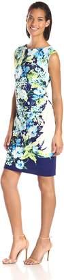 Sandra Darren Women's Cap Sleeve Printed Floral Dress