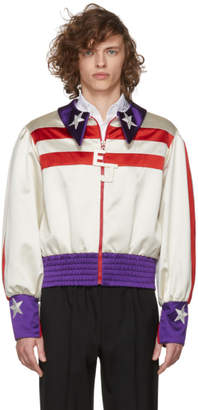 Gucci Red and White Silk Duchesse Elton John Jacket