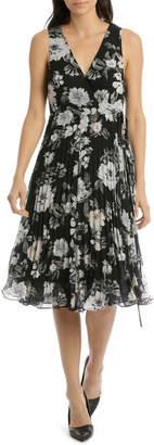 Miss Shop Pleated Skirt Wrap Midi Dress - Large Bloom