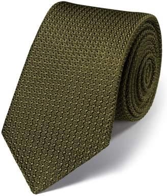 Charles Tyrwhitt Khaki Silk Plain Grenadine Italian Luxury Tie