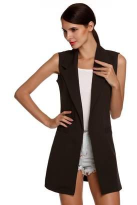 None Women's Fashion Oversized Open Longline Sleeveless Duster Blazer Jacket Coat Lapel Slim Cardigan Long Suit Vest for Women