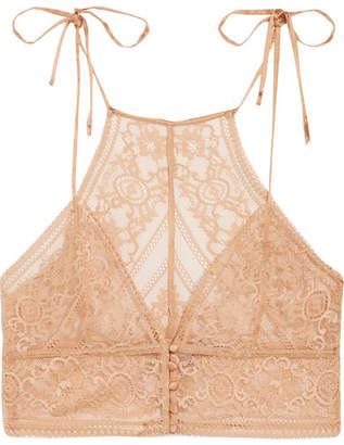 Ophelia Whistling Stretch-leavers Lace Soft-cup Bra - Peach