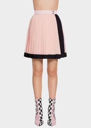 Versace Pleated Georgette-Satin Mini Skirt
