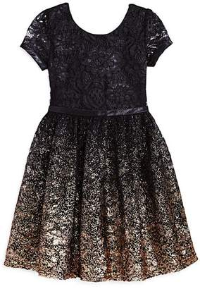 Us Angels Girls' Ombré Glitter Lace Dress - Little Kid
