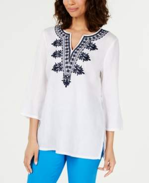 Charter Club Linen Embroidered Split-Neck Tunic, Created for Macy's