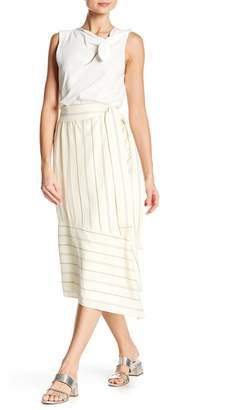 Derek Lam 10 Crosby Asymmetrical Striped Wrap Skirt