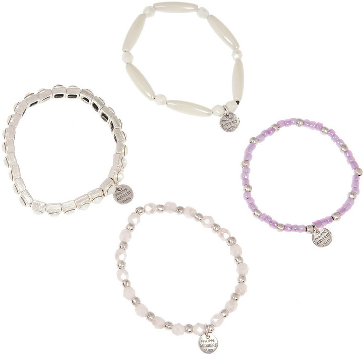 Philippe Audibert Set of four silver-plated crystal bracelets