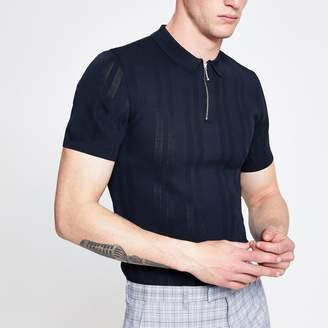 River Island Mens Navy zip neck muscle fit knitted polo shirt
