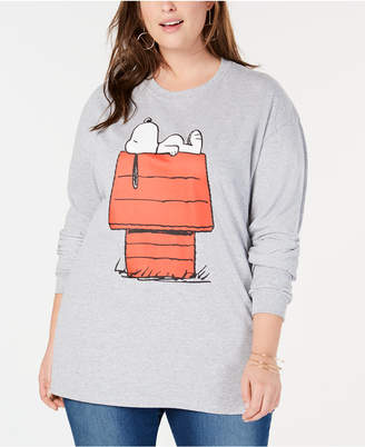 Hybrid Plus Size Relaxing Snoopy Top