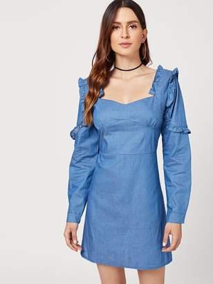 765af2fcaf Shein Sweetheart Neckline Ruffle Denim Dress
