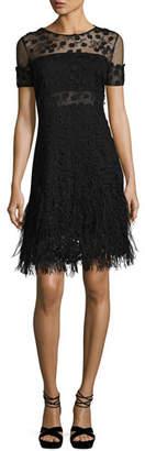 Elie Tahari Anabelle Floral Lace Fringe Dress