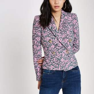 River Island Pink jacquard double-breasted fitted jacket