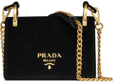 Prada - Pionnière Velvet Shoulder Bag - Black