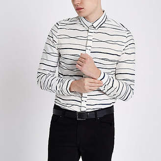 River Island Only and Sons white stripe print Oxford shirt