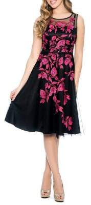 Decode 1.8 Floral Embroidery Fit-&-Flare Dress