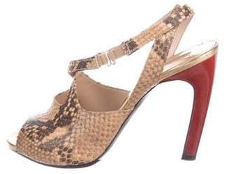 Dries Van Noten Snakeskin Crossover Sandals