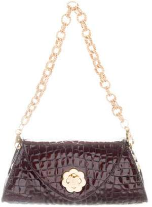 Eric Javits Embossed Patent Leather Shoulder Bag gold Embossed Patent Leather Shoulder Bag