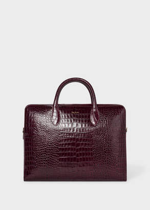 Paul Smith Men's Burgundy 'Bright Stripe' Mock-Croc Leather Business Folio