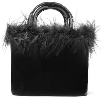 STAUD - Nic Feather-trimmed Patent-leather Tote - Black