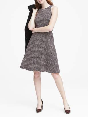 Banana Republic Petite Tweed Racer-Neck Fit-and-Flare Dress