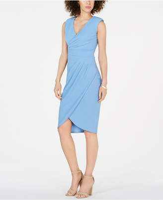 Adrianna Papell V-Neck Ruched Sheath Dress