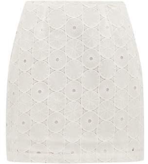 STAUD Broderie Angalise Mini Skirt - Womens - White
