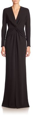 Carmen Marc Valvo Long Sleeve Knot-Front Gown $990 thestylecure.com