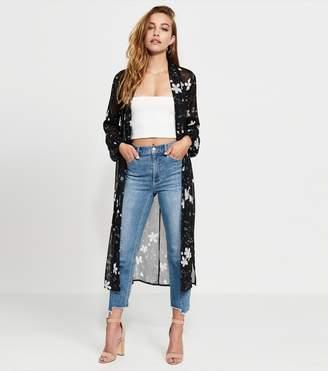 Dynamite Belted Maxi Kimono BLACK FLORAL