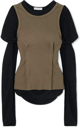 J.W.Anderson Layered Cotton-jersey Top - Army green