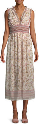 Max Studio Sleeveless Smocked-Waist Midi Dress