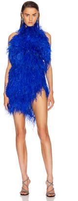 ATTICO Ostrich Feather Mini Dress in Electric Blue | FWRD